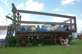Young Amish men on hay wagon